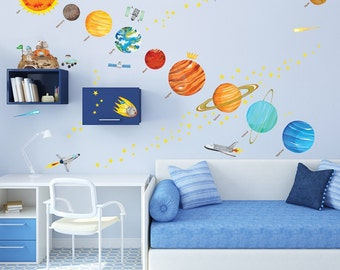 Kids Solar System Map Wall Decals Stickers - Great for the bedroom or the classroom!