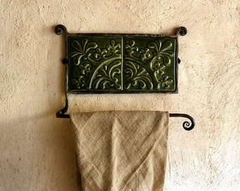 Rustic Towel Hook Ceramic Tile Cast Iron Hanger
