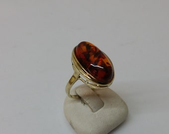 Ring gold 333 with amber cognacfarben GR151