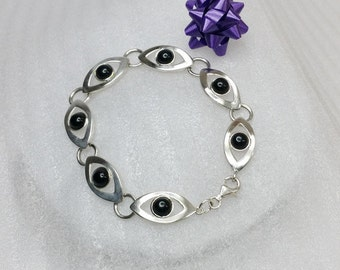 Antique, old 925 silver bracelet silver bracelet with Onyx stones length 18.5 SA110