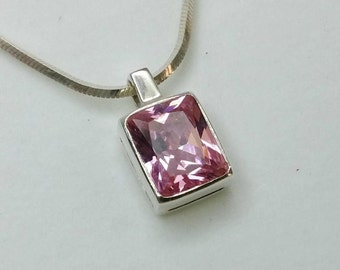 925 Silver Pendant with Crystal pink / pink vintage SK462