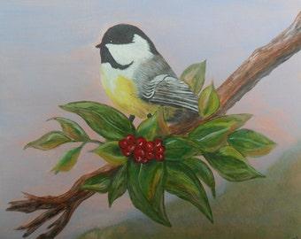 Chickadee at Sunrise, Bird in tree, Christmas Bird, Chickadee in Tree, Country Bird