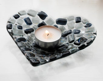 Monochrome Heart Dish Candle Holder Fused Glass