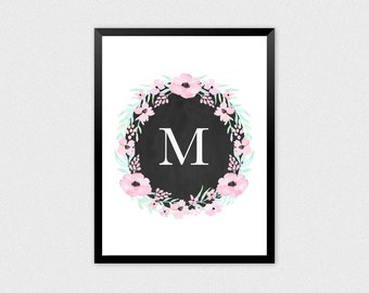 Baby Initial Decor M | Personalized Name, Floral Wreath Letter, Name Letter Poster, Initial, Floral Alphabet, Floral Letter