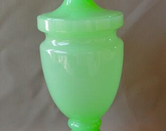 French Italian Large Green Opaline Glass Box - Candy Trinket Dresser Box