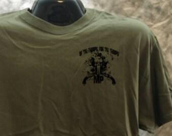 Military Police cross pistol shirt with skull