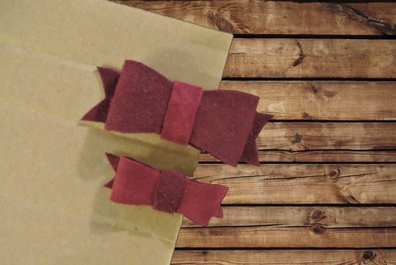 Hair Bows Maroon Leather Large and Small