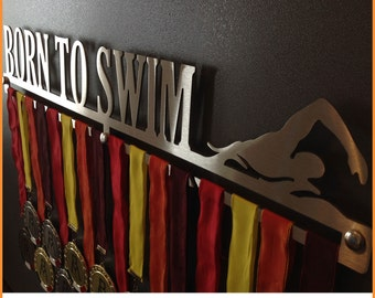 BORN TO SWIM-Male | Medal Holder-Medal Hangers-Display Rack-Medagliere-Badge Case-Medal Display