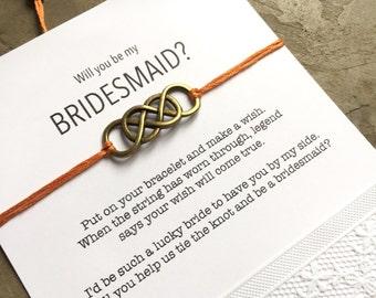 Bridesmaid proposal card, Bridesmaid box, Bridesmaid gifts, Maid of honor gift, Wish Bracelet, Be my bridesmaid, Bridal party gifts, B3