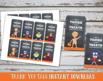 Halloween Thank You Tags, Halloween Kids Favor Labels, Kids Halloween Thank You Labels, No Tricks just Treats Gift Tags INSTANT DOWNLAOD