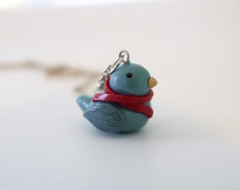 Little Blue Bird Kawaii Charm, Miniature Bird Necklace, Polymer Clay Bird Necklace, Bird Charm Bracelet, Blue Bird Charm