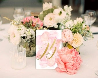 Instant Download: Pink Watercolor and Gold Table Numbers, 26 Tables! Print at Home PDFs