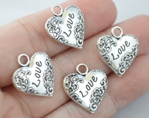 5 Pcs Heart Charms Love Charms Antique Silver Tone 18x20mm - YD0404