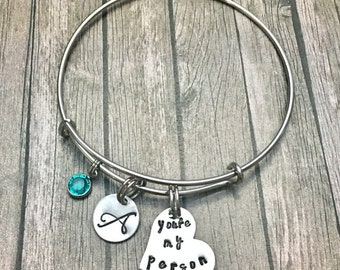 You're my person - Best friend - Bracelet - Youre my person - Best friend gift - Personalized jewelry - Best friend -Gift for her
