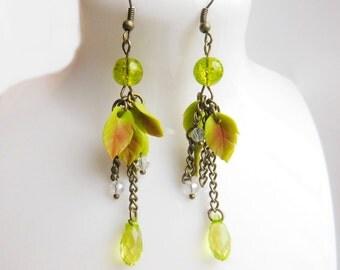 Leaf Earrings Green Leaf Earrings Long Earrings Long Drop Earrings Green Jewelry Green Leaf Jewelry
