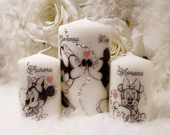 mice family candle set with Rhinestones