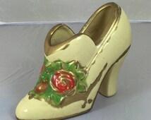 Vintage ceramic ladies Victorian shoe with painted roses, Porcelain shoe planter