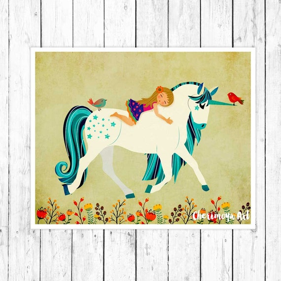 20 Whimsical Toddler Bedrooms For Little Girls: Unicorn Print Childrens Baby Gift Whimsical Print Nursery Wall