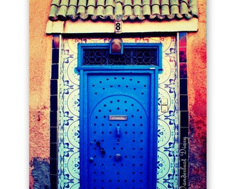 Morocco Photography, Morocco Wall Art, Home Decor, Marrakech Photography, Morocco Print, Morocco Door, Travel Print, Rustic, Blue Print, Art