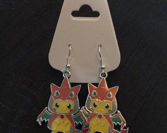 Silver Plated Nintendo Pokemon Cosplay Pikachu Charizard Earrings