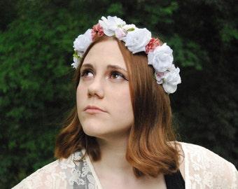 White & Pink Flower Crown