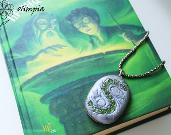 Slytherin locket Harry Potter jewelry magic wedding HP collectible cosplay witch pendant Slytherin Necklace Deathly Hallow halloween horcrux