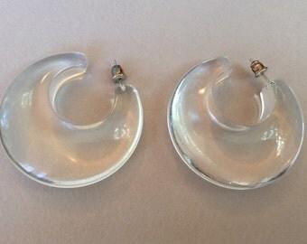 Clear Lucite Chunky Hoop Pierced Earrings