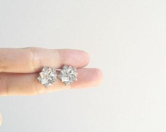 Crystal CZ Earrings, Crystal CZ Stud Earrings, Silver Crystal Studs, Silver CZ Earrings, Silver Crystal Earrings, Sparkly Silver Earrings
