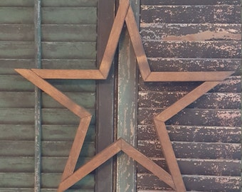 "19 1/2"" Wooden Star Wall Art , Rustic Wood Star, Americana Wood Star"
