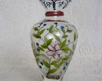 Handpainted Glass Vase, home decor decorative painting glassware cottage chic decor french country decor victorian flower garden