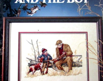 "Cross Stitch Book, By Leisure Arts, Leaflet 2114. ""Grandpa and the boy ""( 1991) A Vintage  Pattern of Grandpa Hunting.  //On SPECIAL!!"