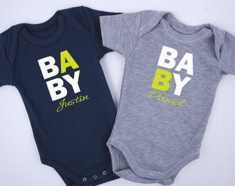 PERSONALIZED TWIN Baby Boy Outfits, Baby A Baby B, Set of 2 Bodysuits - Gray & Navy Blue, Baby Shower Twin Gifts, Twin Boy Clothing, Twins