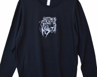 Embroidery, Machine embroidered Tiger's head on men's long sleeve t-shirt,Machine Embroidery,Tees