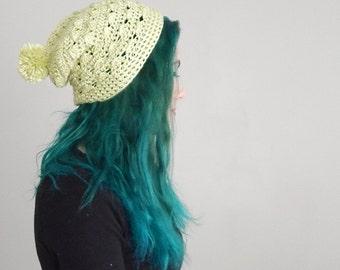 Green Women's Slouchy Hat Textured Crocheted Beanie