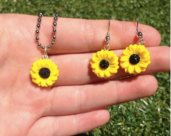 Sunflower Earring and Necklace Polymer Clay Set