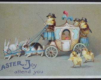 Easter Postcard Humanized Chicks in Carriage Ellen Clapsaddle Card