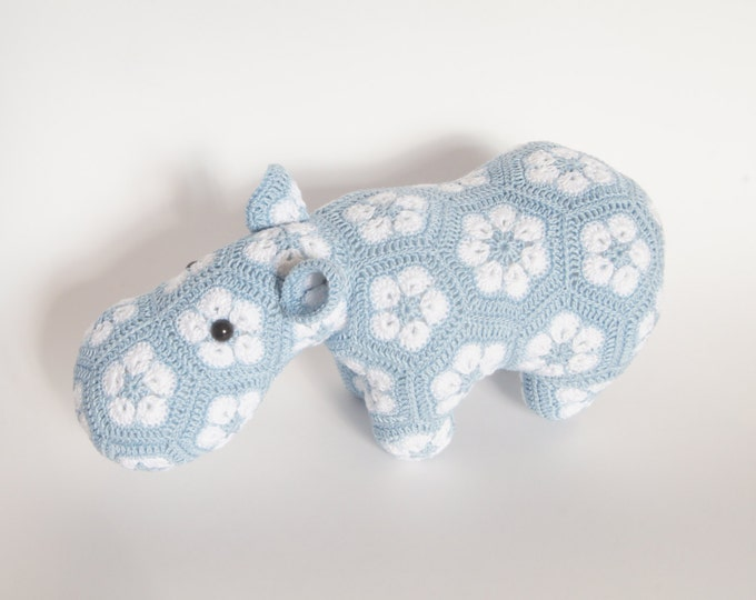 Crochet Toy Doll Amigurumi Jungle African Animal Hippo Stuffed Toy Present Gift for Boy Girl Baby Custom Color Shower