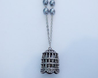 Silver Pearl Bridcage Necklace CO118