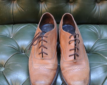 Vintage Italian Leather Brown Brogues Wingtips Mens Size 42 UK size 8
