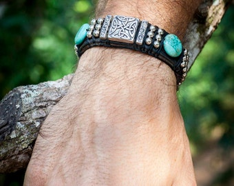Studded Leather Cuff Bracelet with Turquoise