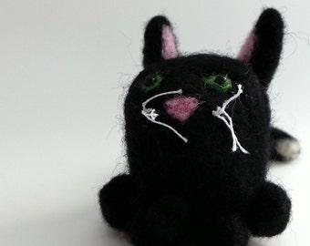 Needle felted black cat sculpture