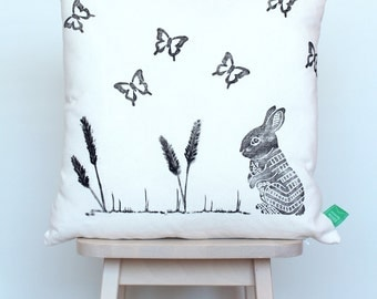 SALE | Cushion cover with rabbit and butterflies