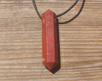 RED JASPER Crystal Point Pendant Witth Adjustable Cord Stone Natural Gemstone