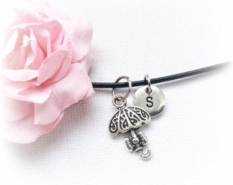 umbrella Necklace, umbrella Jewellery, umbrella Gift, umbrella Charm Jewelry, Personalised jewelry, initial necklace,SPLCINU1