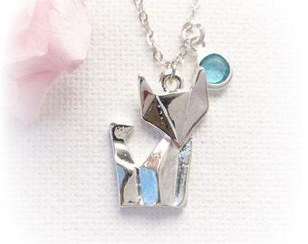Fox Necklace, fox Jewellery, fox necklace, kids necklace, fox jewellery, fox necklace, fox, birthstone necklace, personalized, SFINFOX2