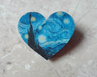 The Starry Night Vincent van Gogh heart pin