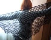 Black shawl Wool shawl Knitted wool shawl Black lace shawl Shawl on the shoulders Buy wool shawl Shawl custom made Elegantly knit shawl