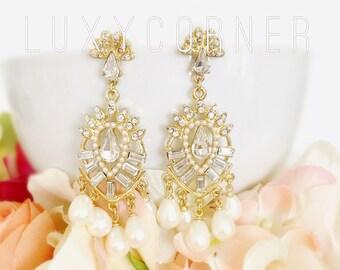Pearl drop earrings, Pearl Bridal Earrings, Bridal, Art Deco Earrings, Gatsby Earrings, Prom Earrings, Vintage Acessories, Vintage Earrings