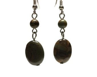 Natural Stone Earrings, Long Earrings, Round Earrings, Drop Earrings, Hanging Earrings, Brown Stone, Earrings for Women, Dangle Earrings