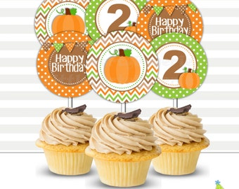 Pumpkin Birthday Cupcake Toppers | Printable Cupcake Toppers | Party Circles | Pumpkin | Design 16069